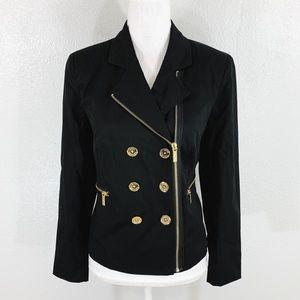 NWT Michael Kors black gold zipper jacket